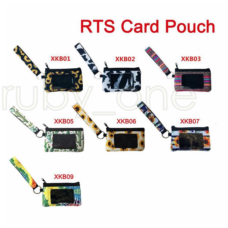 Sac néoprène carte d'identité de tournesol imprimé léopard ID crédit porte-cartes Porte-monnaie Bracelet Fermeture à glissière Pochette de rangement avec porte-clés Sacs RRA3576