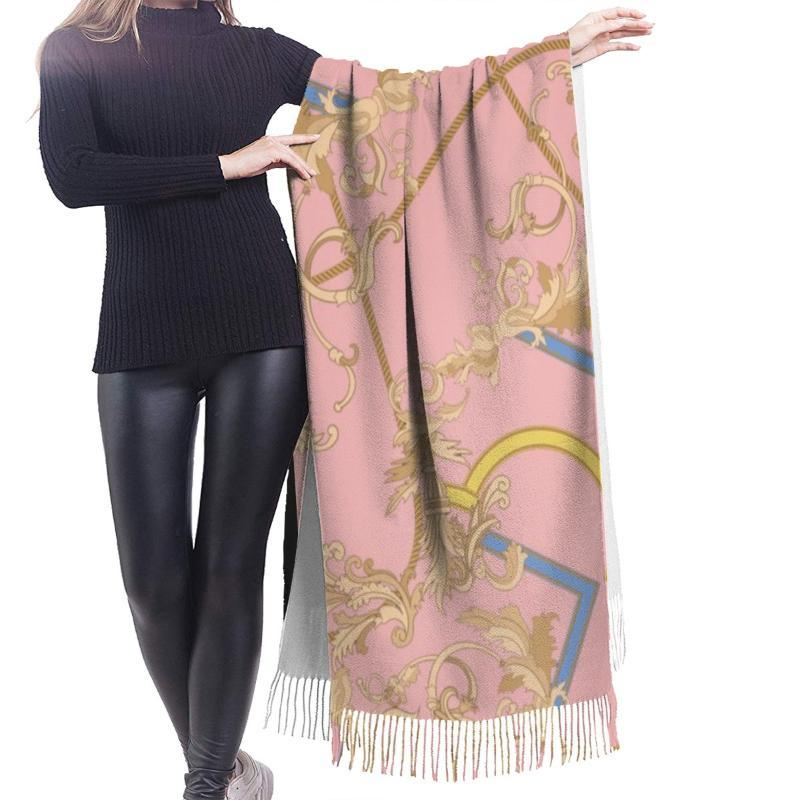 Schals NoisyDesigns 2021 Frauen Schal Winter Warm Tuch Und Wraps Kreative Muster Blumen Blumenrosa Weiche lange Quaste Weiblich