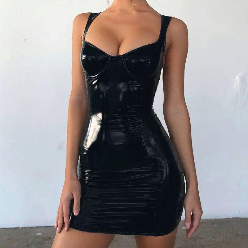 Повседневные платья PU кожаное платье женщины спагетти ремешок сексуальный клуб вечеринка без рукавов карандаш мини Bodycon Vestidos