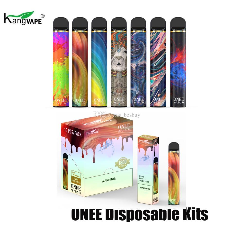 정통 Kangvape Onee 스틱 일회용 장치 키트 1800 퍼프 6.2 ㎖ 채워져 포드 1100mAh Vape 비우기 펜 VS 플러스 흐름 바 XL 100 % 원본