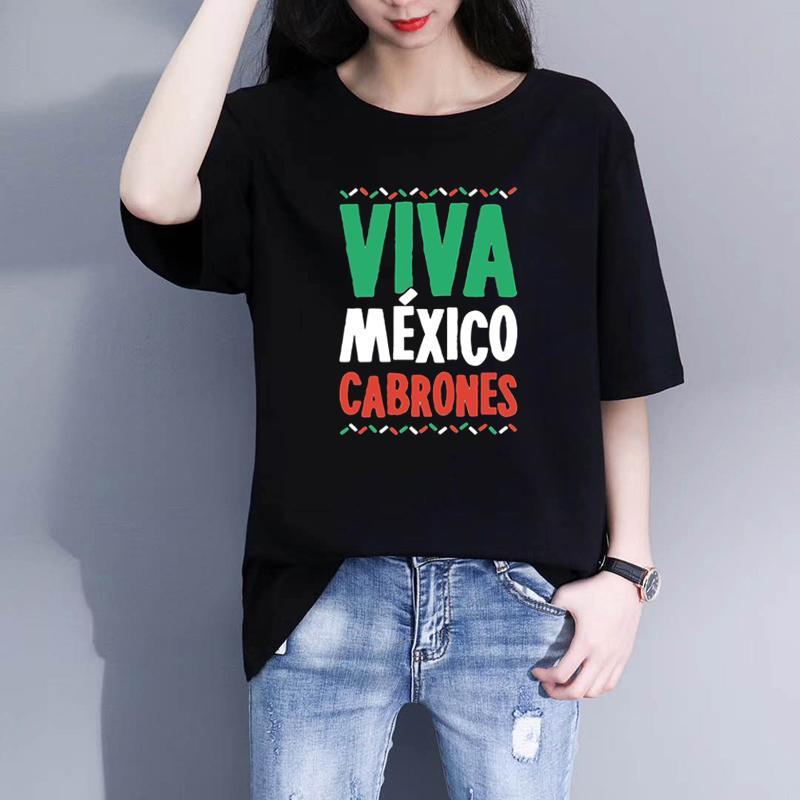 Viva Mexico Cabrones Kadınlar Serin Tişört Lady Tees Hediyeler dropshipping Erkekler Tişörtlü Estetik Tişörtlü Yaz Kadın Tops