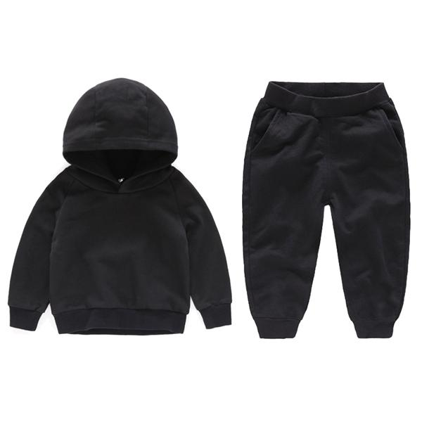 Otoño Invierno niño muchachas de los bebés arropa sistemas sólidos de Niños Top Sudadera + pantalones pantalones de algodón de ropa para niños