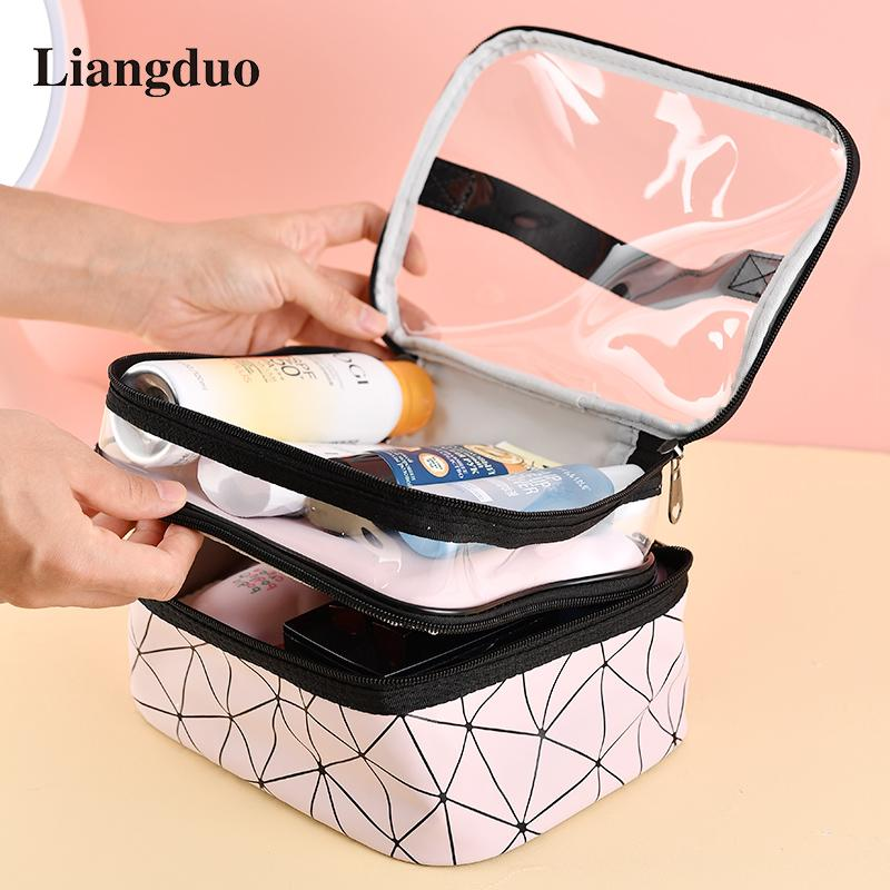 Liangduo Double Layer Makeup Bag Large Capacity Cosmetic Case Multifunction Waterproof Clear Bag Organizer Toiletry For Women