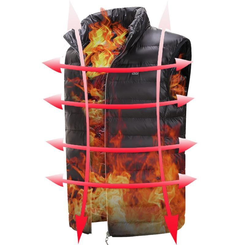 2020 New Electri Heizung Vest Graphene Carbon-Faser-USB Infrarot Beheizte Jacke Winter Thermo-Bekleidung Outdoor-Weste Unisex