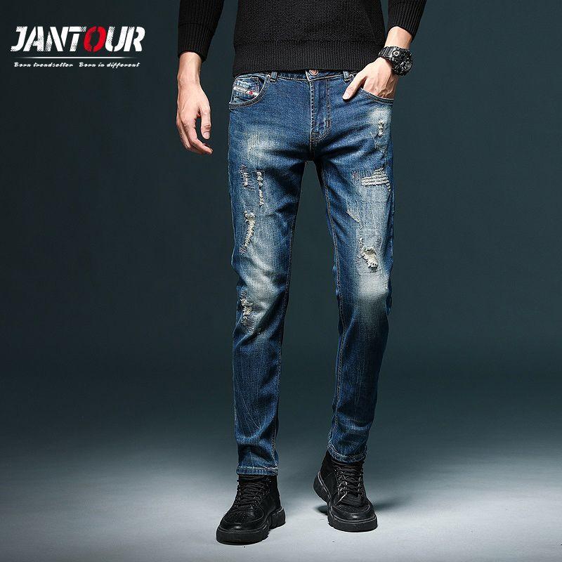 패션 높은 품질 남성 청바지 레트로 디자인 슬림핏 데님 청바지 남성 바지 브랜드 의류 향수 컬러 바이커 찢어진
