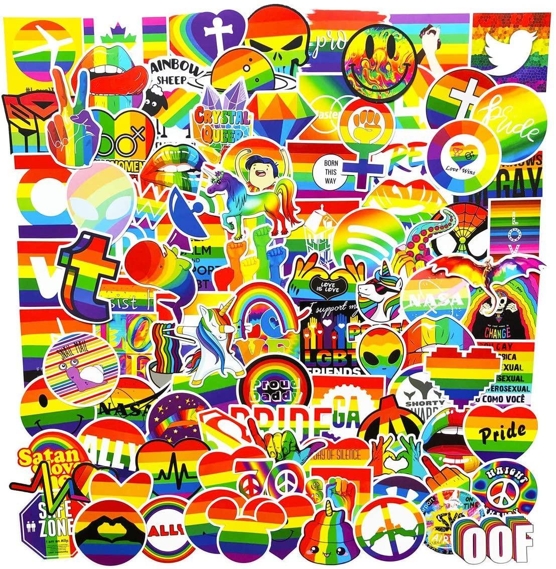 100pcs التي قوس قزح اللون المثليين المثليين VSCO ملصقات حزمة السيارات دراجة الأمتعة ملصق محمول سكيت موتور المياه الوفير زجاجة مائي
