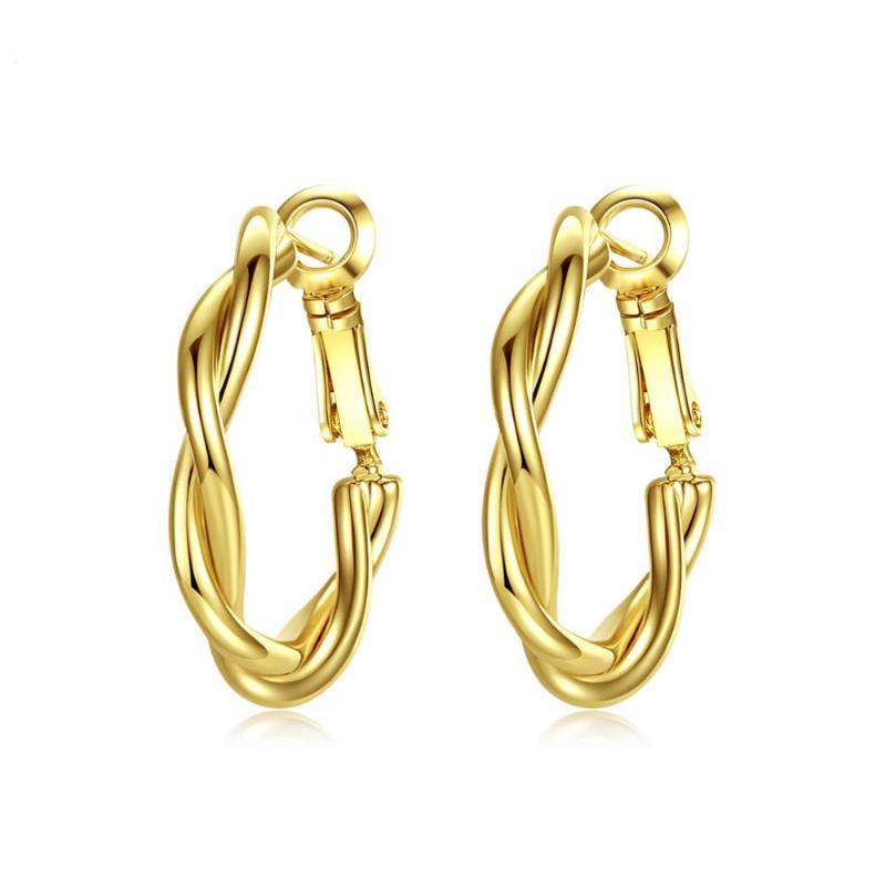 Minimalistische Twist Rund Ohrringe für Frauen-Mädchen-Partei-Dating Korean Femme Fashion Jewelry Brincos
