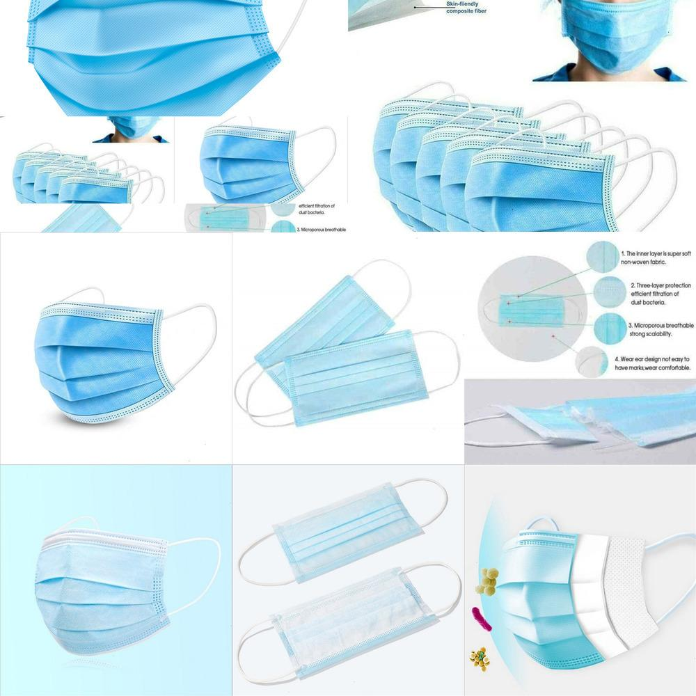 50 piezas desechables de la mascarilla de 3 capas máscaras protectoras no quirúrgicos cubierta de tela fundida por soplado protector bucal 50pcs / caja azul LUJ6S LI2BT