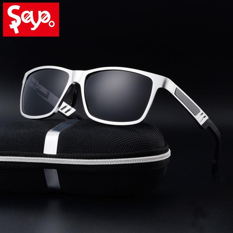 Saylayo New Hombres Calidad UV400 Metal Marco Retro Alto Gafas de sol Polarizadas Conducción Al-MG Protection Eyewear Beach Sun Shades VMLJW
