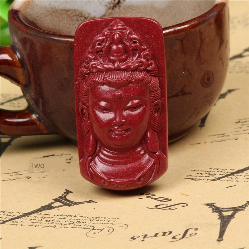 axF9K cinabre Pendentif Guanyin teneur élevée en sable d'or violet minerai brut Yulong assis lotus Tag Tag Guanyin marque 108 pièces