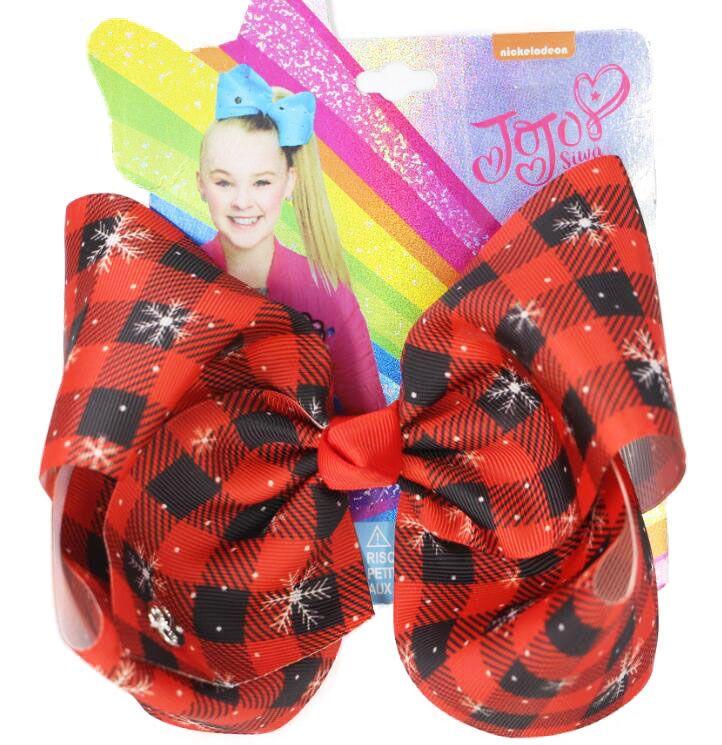 Nueva JOJO SIWA arcos del pelo 8inch accesorios Arcos pelo grande de Navidad para las niñas de Navidad del partido del Bowknot de Hairgrips Headwear del pelo de los niños 8pcs
