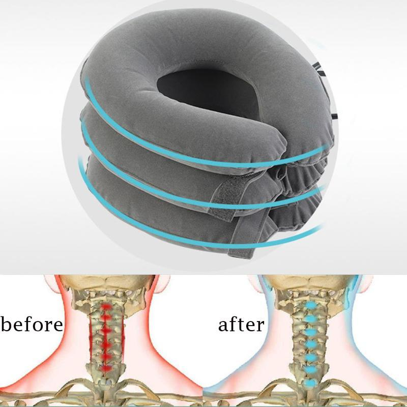 Inflável Cervical Vertebrae Neck Pillow Traction Dor lançamento Neck Postura correção Resto Relaxe Almofada casa ao ar livre Dormir