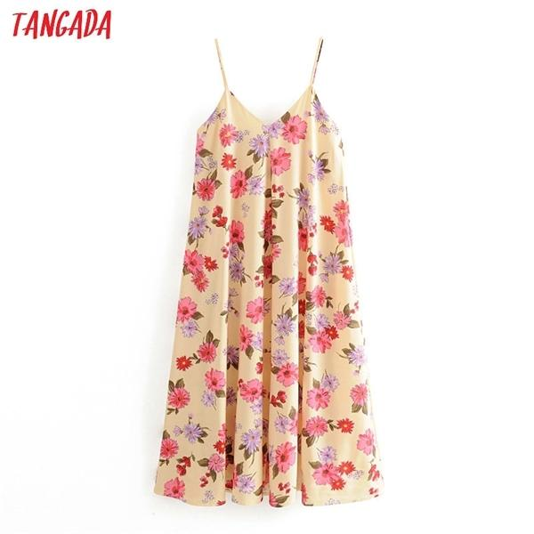 Tangada Fashion Femmes Fleurs Print Maxi Robe Sangle Ajuster Sans Manches Dames Vintage Robe de réservoir Vestidos 3H3830924