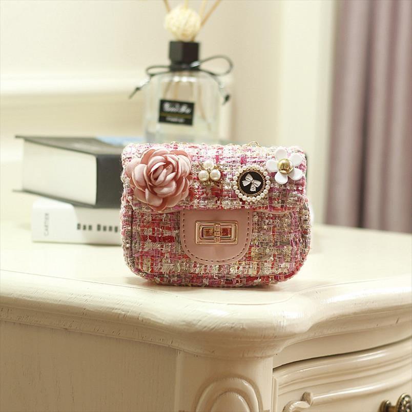 Cotton wool floral children school bags kids travel messenger cross body pouches money bags for kindergarten baby girls