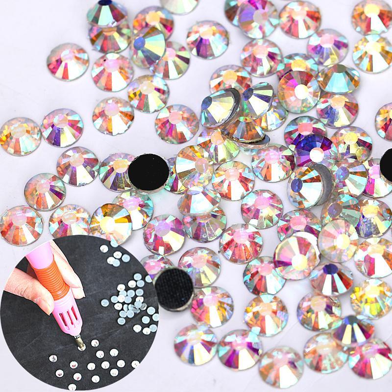 Clear AB Crystal AB White DMC Hotfix Rhinestones Grey Glue Flatback Glass Iron On Hot Fix Rhinestone For Motif Designs H0126