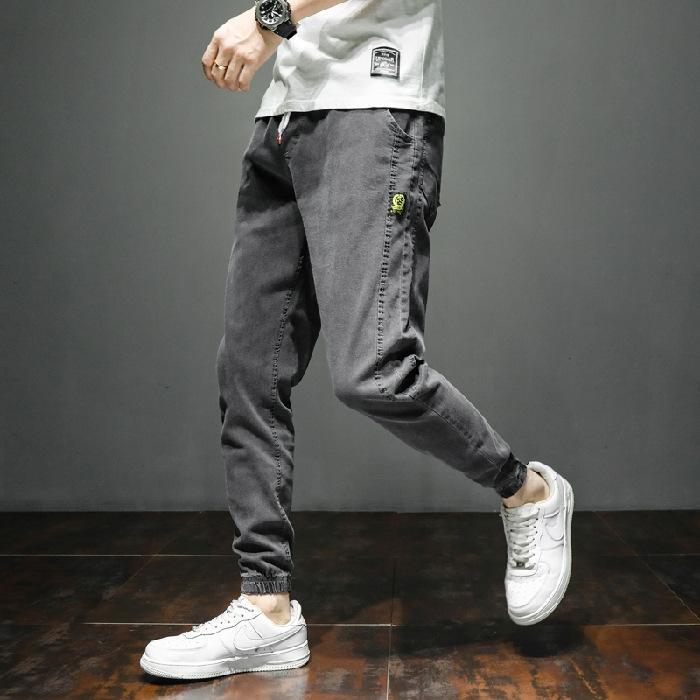 gCFxJ tarzı kot erkekler uzun moda markası trouserstight büyük boy Koreli gündelik geçici gevşek pantolon pantolon pantolon Yaz trendi Har overalls