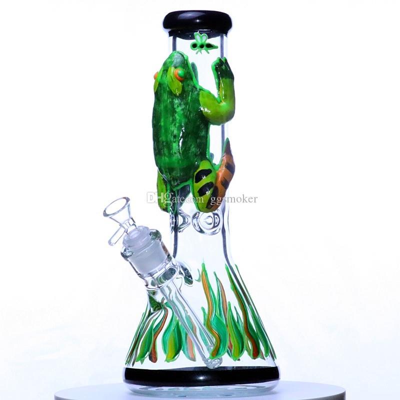 fluorescenza pyrex rana filtro doppio strato erogatore acqua olio rig riciclatore tubi dell'acqua tamponare rig modello coppa alto bong