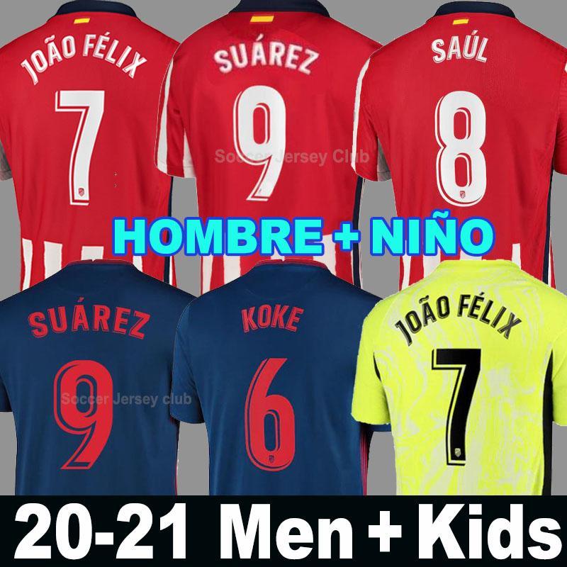 20 21 اتلتيكو JOAO FELIX مدريد سواريز لكرة القدم الفانيلة 2020 2021 KOKE SAUL M. لورينتي قميص كرة القدم مجموعات الرجال + الاطفال camiseta دي فوتبول