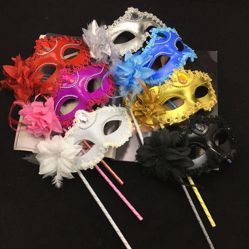 Máscaras de Halloween cara de mano veneciana de la mascarada media flor atractiva del baile de la boda del partido del traje de la máscara Fwf838