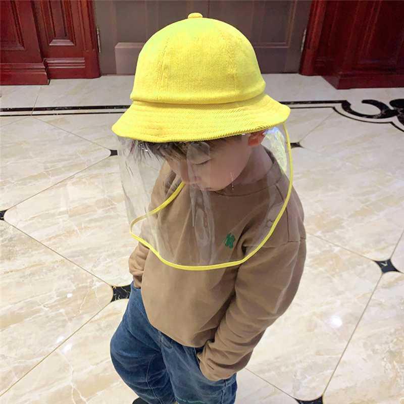 4-8 Yaş Çocuk Çocuk Anti-tükürme Şapka Koruyucu Boys Şeffaf Cam Ekran Kepçe Şapkalar toz geçirmez Kapak Koruma Maske
