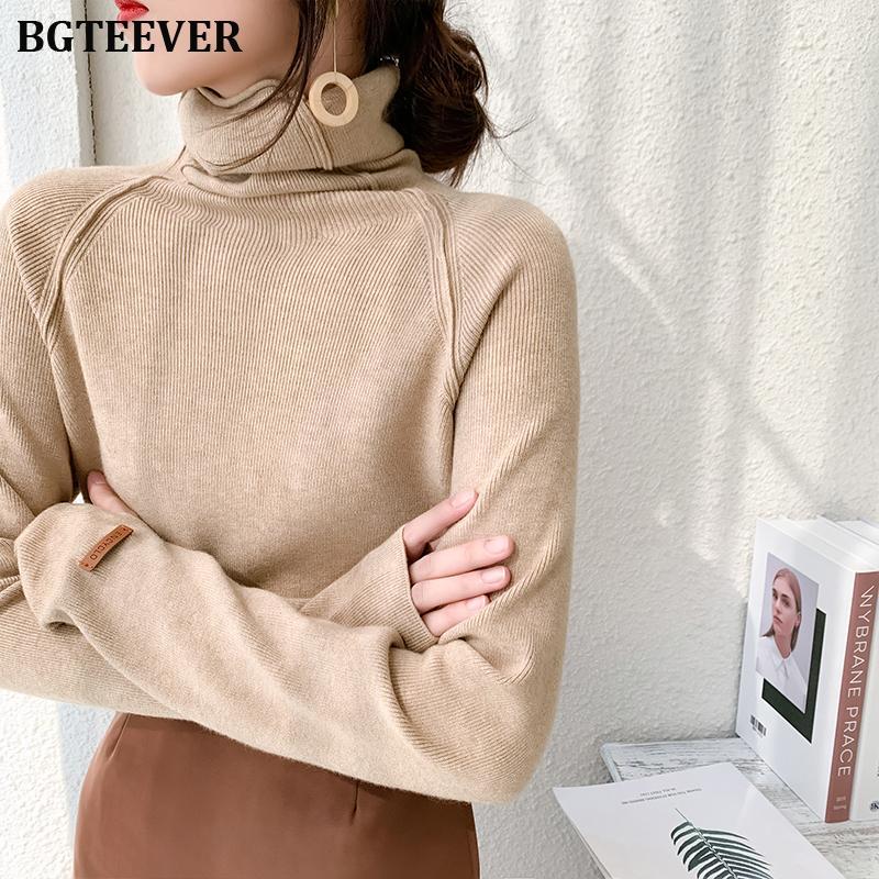 puentes suéter envuelta para BGTEEVER otoño invierno de cuello alto suéter de las mujeres elegante delgado femenino de punto suéteres casuales femme Y200909