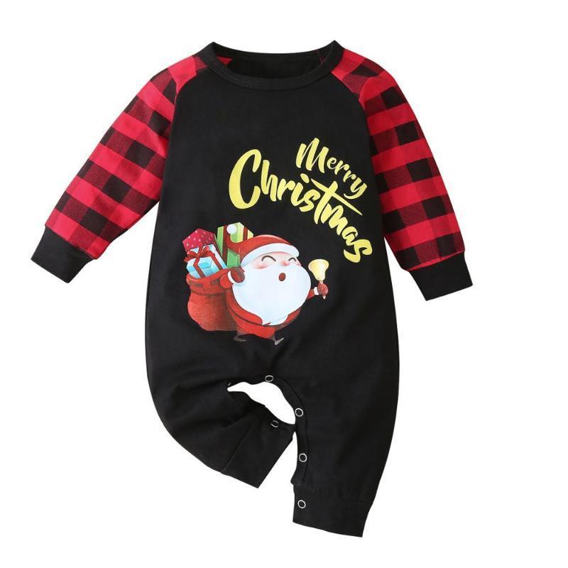 Padrão roupas de inverno Natal Recém-nascido Bebé Meninas Meninos macacãozinho Plaid manga comprida desenhos animados Xmas Papai Noel Macacão Jumpers