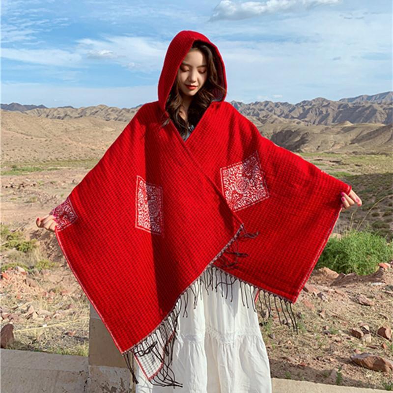 tDJb8 nuovo autunno e inverno stile etnico con cappuccio mantello sciarpa calda mantello mantello di due-scopo aria condizionata scialle delle donne ispessite viaggio rosso