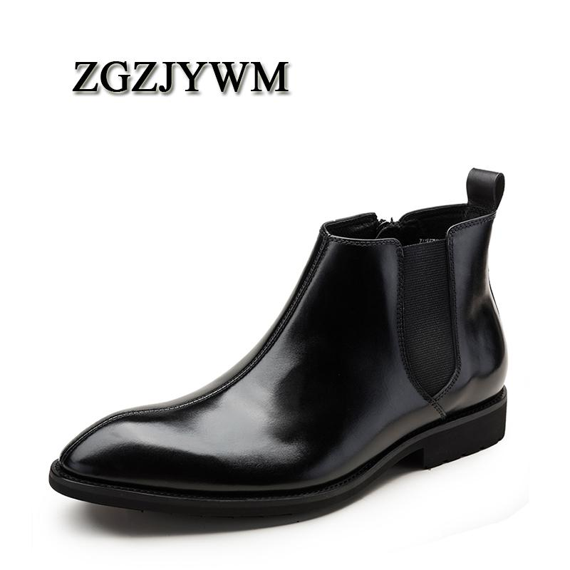 Botas ZGZJYWM Llegada Alta Calidad Cómoda Moda Cuero genuino Punta puntiaguda Slip-On Spring / Otoño Tobillo Hombres Zapatos