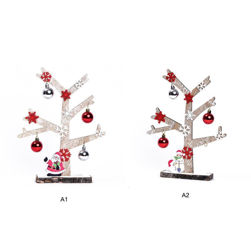 Mini árbol de Navidad Decoración de madera colgantes Feliz árbol de Navidad con los ornamentos del copo de nieve de Bell de Santa Claus Colgante Decoración