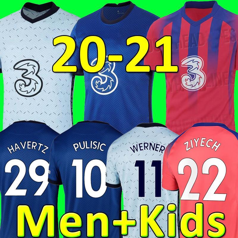 태국 첼시 20 21 ABRAHAM WERNER HAVERTZ CHILWELL ZIYECH 축구 유니폼 2020 2021 PULISIC 축구 셔츠 KANTE MOUNT 남성용 키즈 세트 키트