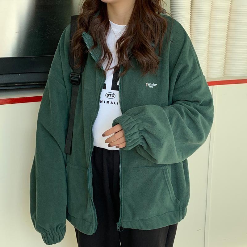 Zip-up Hoodies Women Autumn Winter Casual Velvet Fleece Letter Pockets Oversized Harajuku Tops Sweatshirt Jackets Coats Outwear T200917