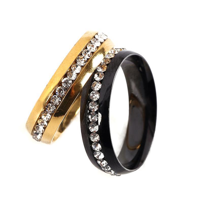 Weisekristallfußkettchenschmucksachen Ringe voller Diamanten 316L Titan Stahl Hochzeit Bandringe für Frauen und Männer 18 Karat Gold versilberte Paare Ringe Schmuck