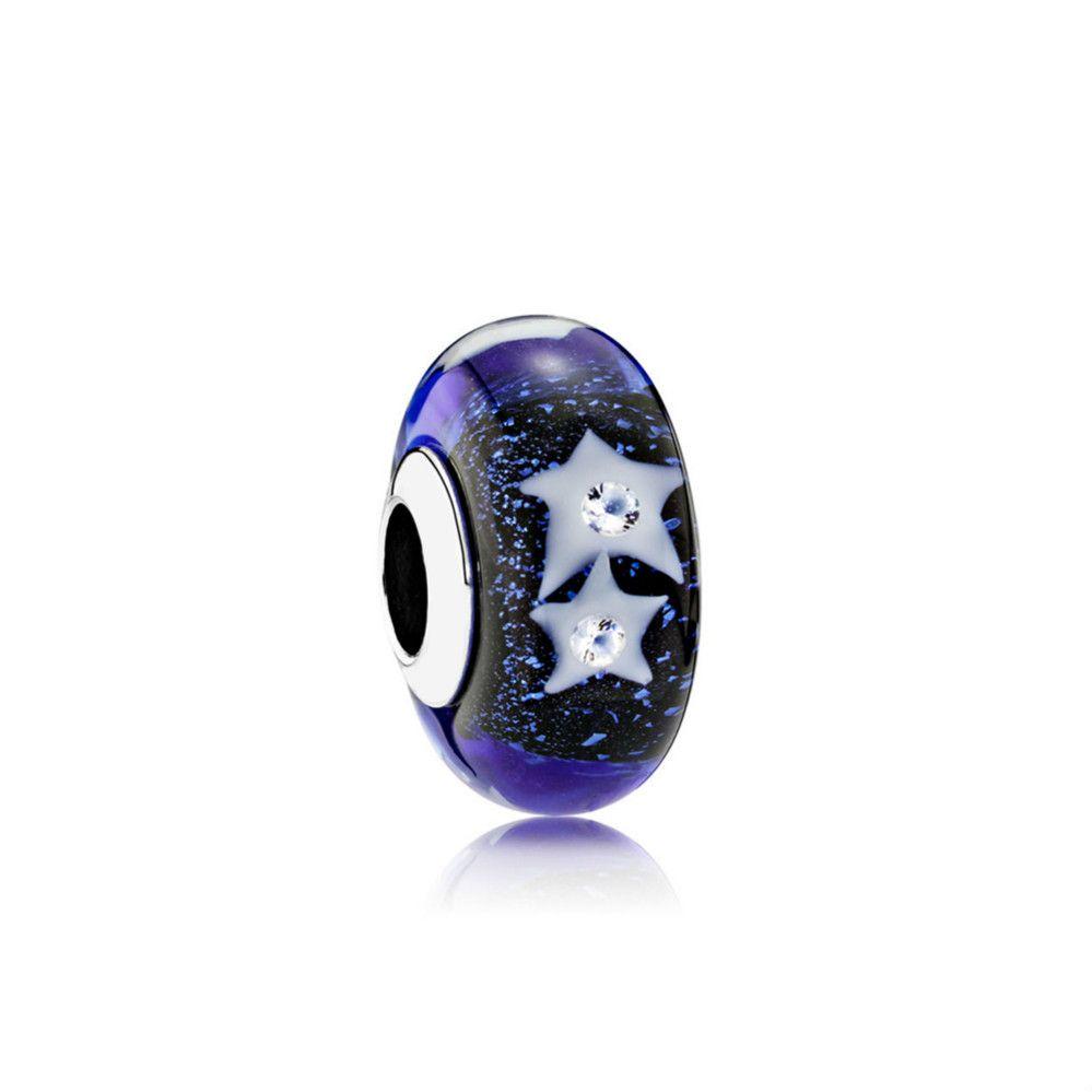 791662CZ regalo NUOVO 100% Jewelry argento sterling 925 Night Sky Vera Stella Glamour Perle di vetro DIY Bracciali originale Donne