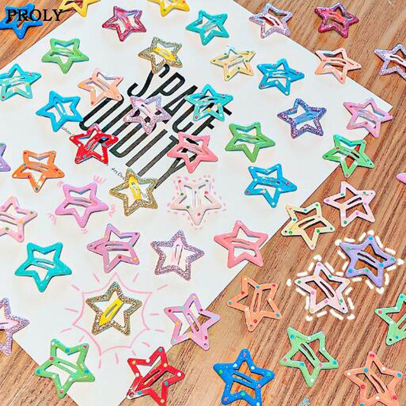 PROLY 10 / ПК / Set New Metal Симпатичные девушки Шпильки Набор детей Barrettes Star Simplicity клипы Челка Красочные аксессуары для волос