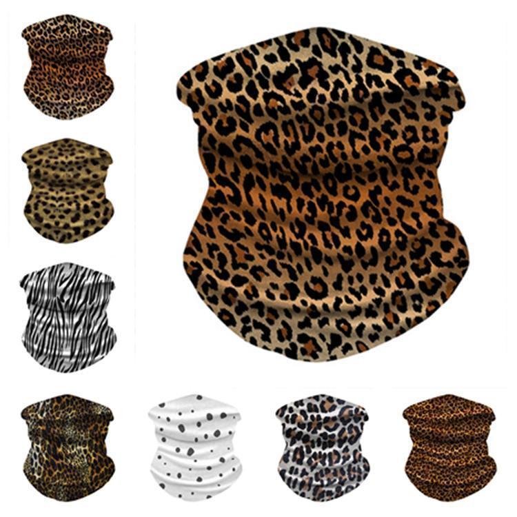 punto de montar leopardo de seda de hielo máscara de deportes al aire libre del partido enmascaran muñequera multiuso de magia bufanda máscaras del partido DHC19