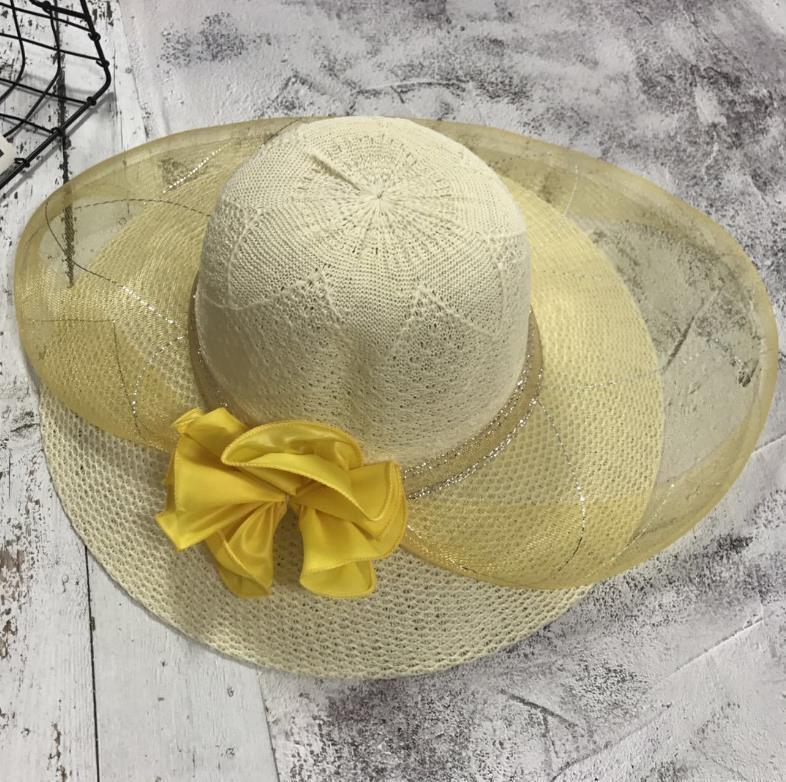 6GP1M femmes l'été creuse en dentelle-out style coréen maille femmes chapeau de mariage en dentelle respirant grand chapeau de soleil bord