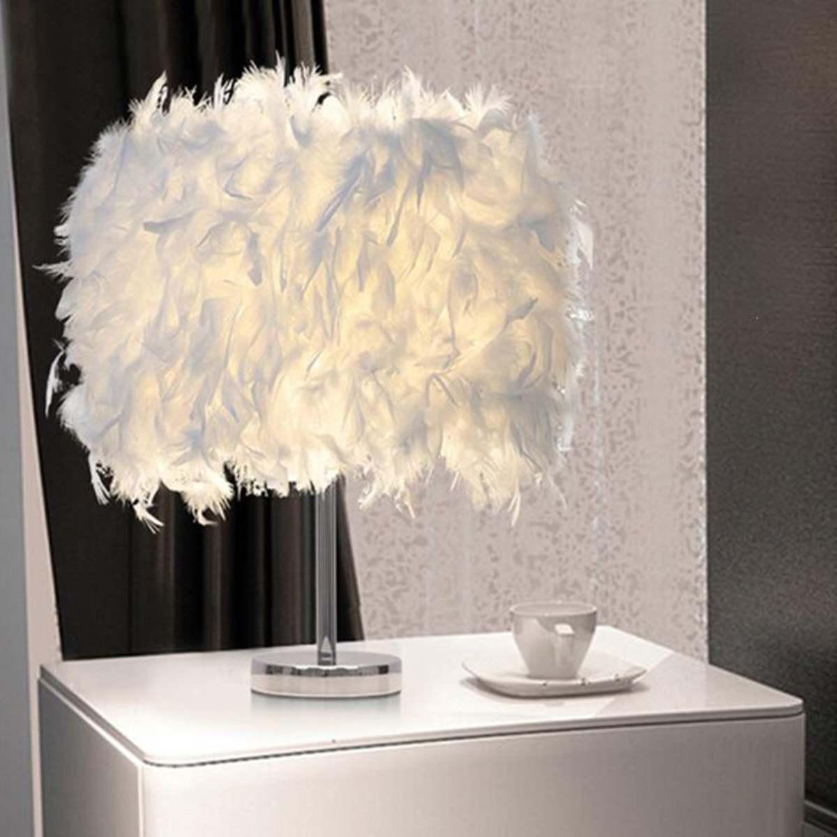 220V Federschatten Metall Tischlampe Nachttisch Schreibtisch Vintage Nachtlicht Weihnachten Dekor Weiche Vintage Schlafzimmer Studienzimmer Weiß