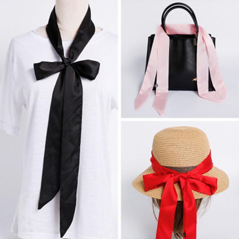 Korean solid color long silk scarf female summer satin Multifunction Headband Tied bag floating neck scarf ribbon belt M14