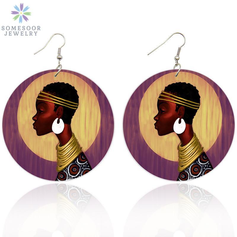 SOMESOOR Impreso retro mujer Afro madera pendientes de gota de las mujeres Negro Fotos cuelgan africana de madera arte de la joyería Para las Damas de regalos