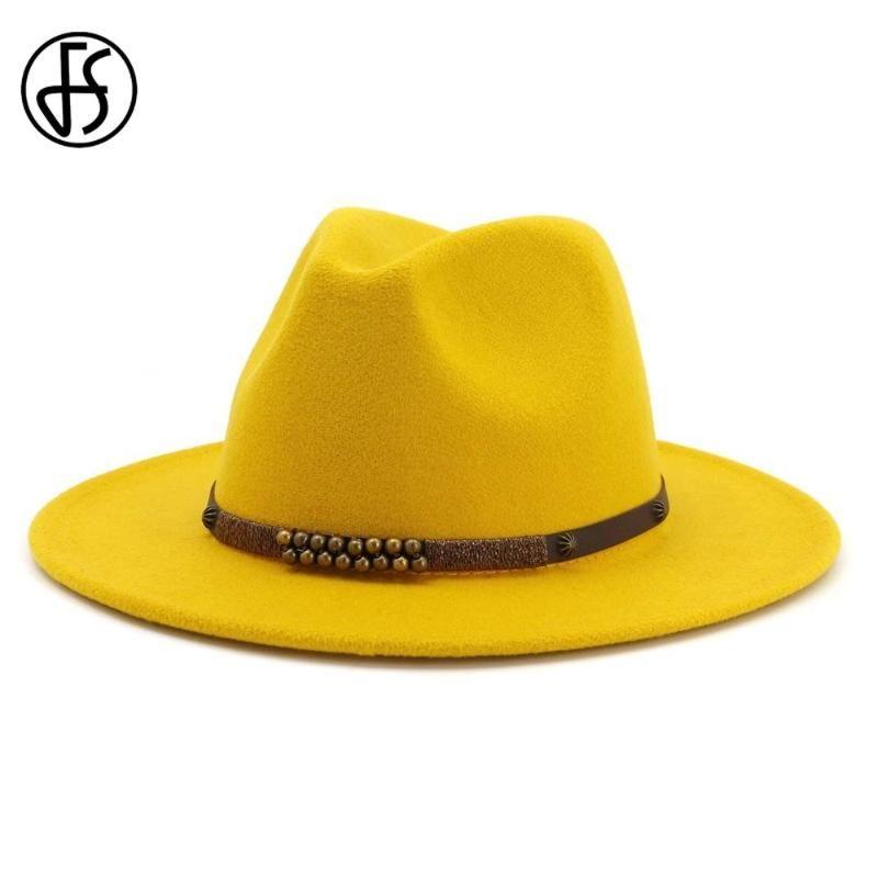 FS Yellow Wool Felt Fedora Hat Men Women Wide Brim British style Trilby Party Formal Panama Jazz Cap Black Blue Pink Dress Hat