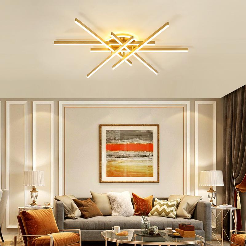 Nordic Golden Line Lampadario Soggiorno Sala da pranzo moderno di illuminazione domestica luce lusso Camera soffitto