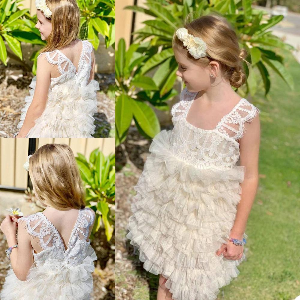 Principessa delle ragazze di fiore abiti 2020 Piazza del collo Appliques pizzo Tiered bambini Abiti formali su ordine di lunghezza del ginocchio della Prima Comunione Abiti