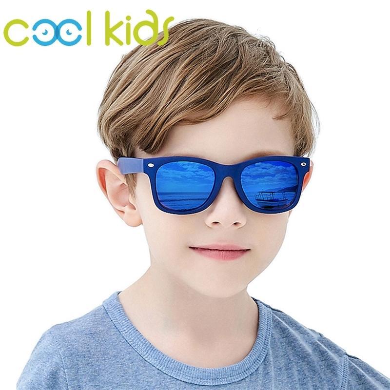 Flexible Polarized Kids Cool Sunglasses Child Square Sun Glasses for 7-12 Years Boys Tr90 Uv400 Shade Blue Eyewear Children Ch01