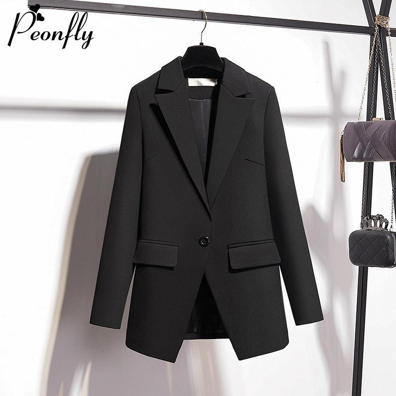 PEONFLY Casual Tek Düğme Kadınlar Blazer Ceket Çentikli Kadın Ceketler Moda Ofis Lady Dış Giyim 2020 İlkbahar Coat Siyah