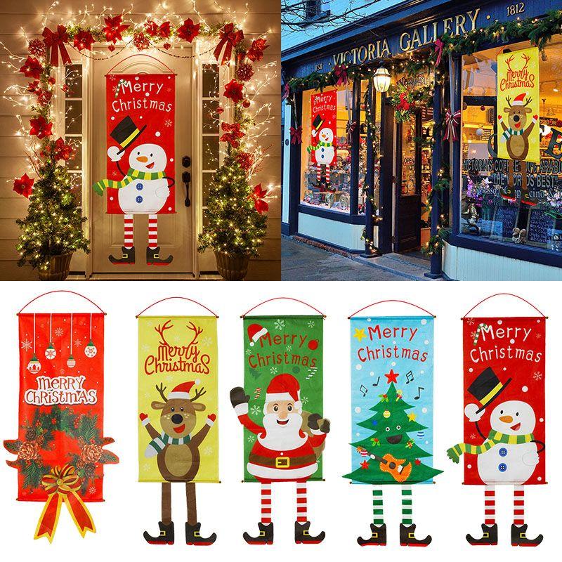 Feliz Navidad Porche Puerta Banner Decoración colgante del ornamento de Navidad Para el hogar de Navidad Navidad 2020 Feliz Año Nuevo 2021