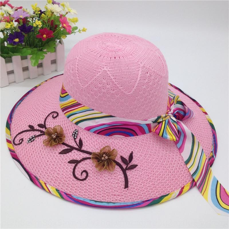 O2sY0 Yaz yeni kadın seyahat UV geçirmez şemsiye büyük ağzına vizör miğfer Örme kadın şapka baskılı geniş kenar Kadın örme şapka