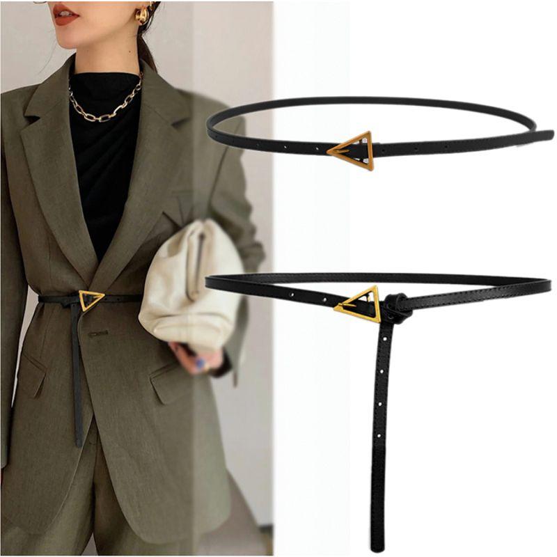 Kadınlar için Tasarımcı Kemerler Hakiki Deri Uzun İnce Kemer Bayanlar Bel Cinturon Mujer Üçgen Elbise Kemer 2020