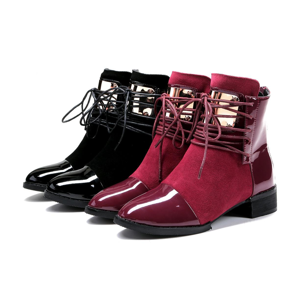 European and American fashion Martin boots metal piece genuine leather velvet rear zipper bare cotton boots size 35-43001