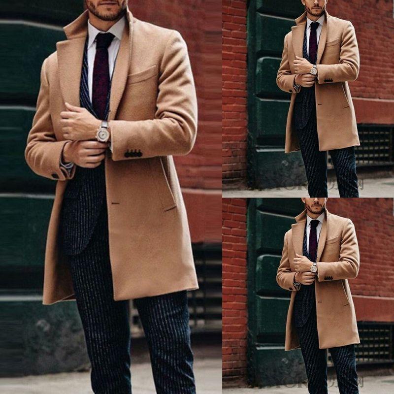 Мужской Solid Color Шинели Осень Зима Ветровка длинномерных пальто нагрудного ошейник с длинным рукавом пальто Мужской двойной флисовой куртка