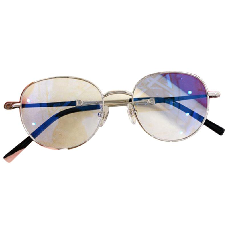 Occhiali leggeri Blocchi femminili Telaio femminile Retro Cornice di marca Eyeglasses in metallo Blu Anti Anti Luxury Round Donne Pfxun